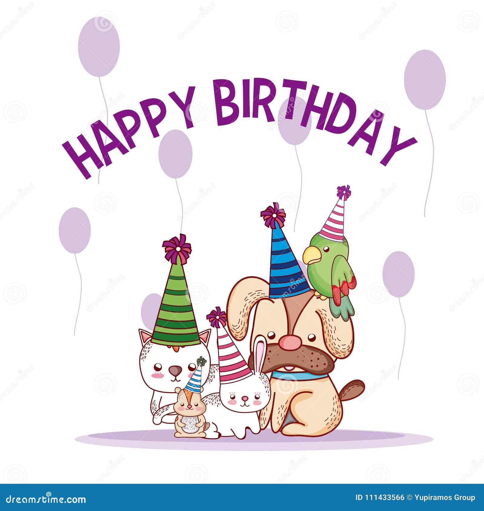 Happy birthday pets cartoons