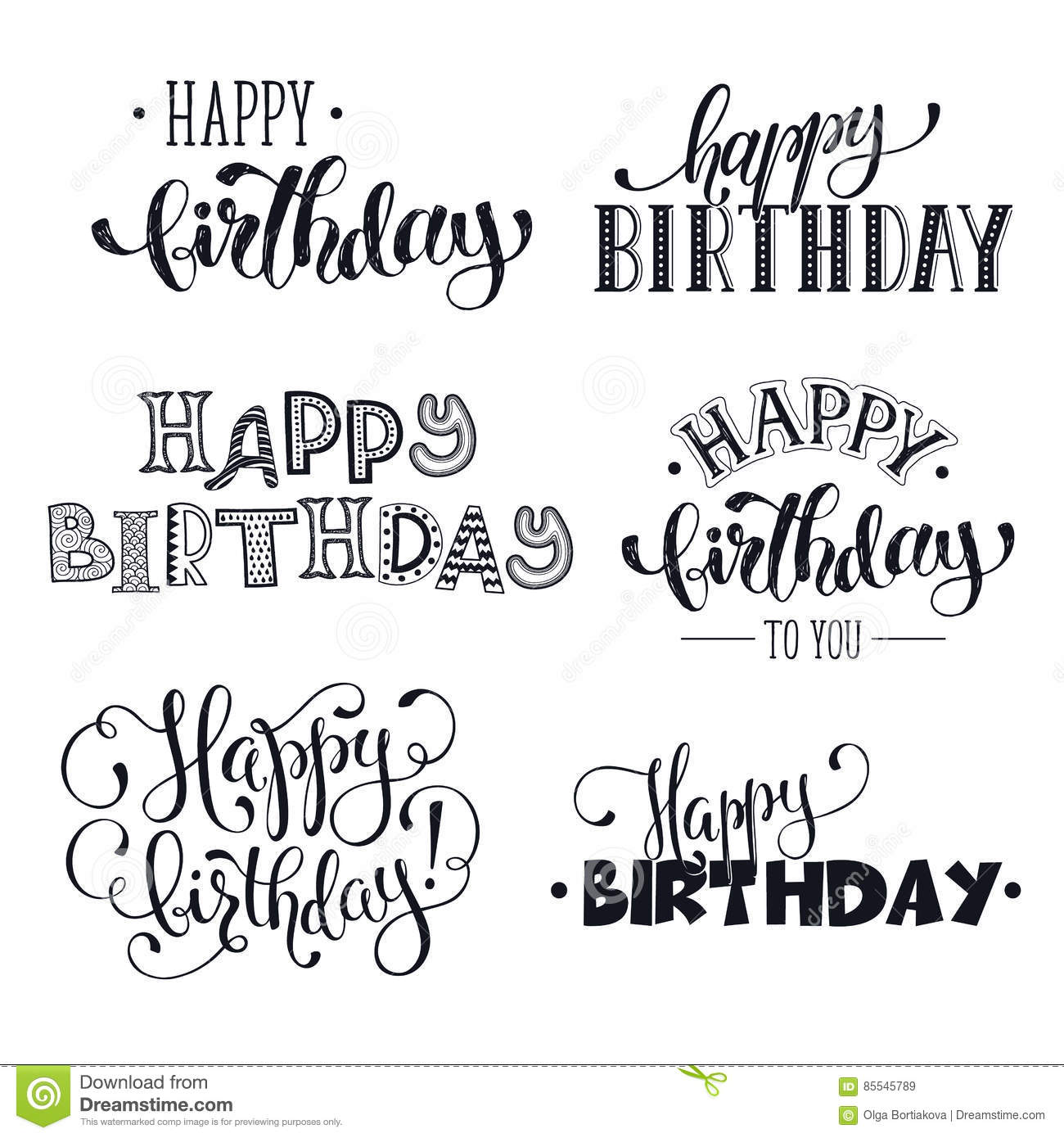 Happy Birthday Phrases Stock Vector. Illustration Of Card