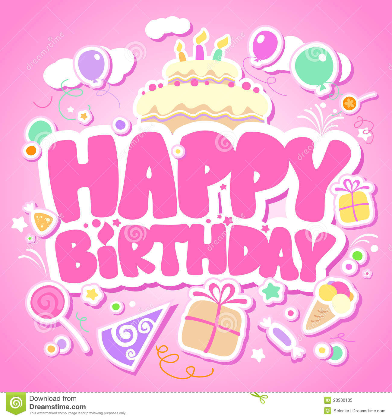 Happy Birthday pink card stock vector Image of candy 23300105