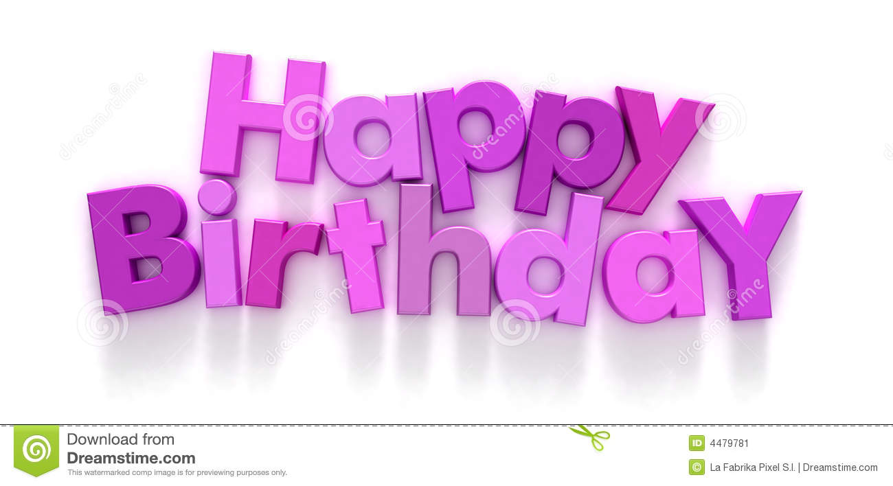 Happy Birthday in pink and purple letters