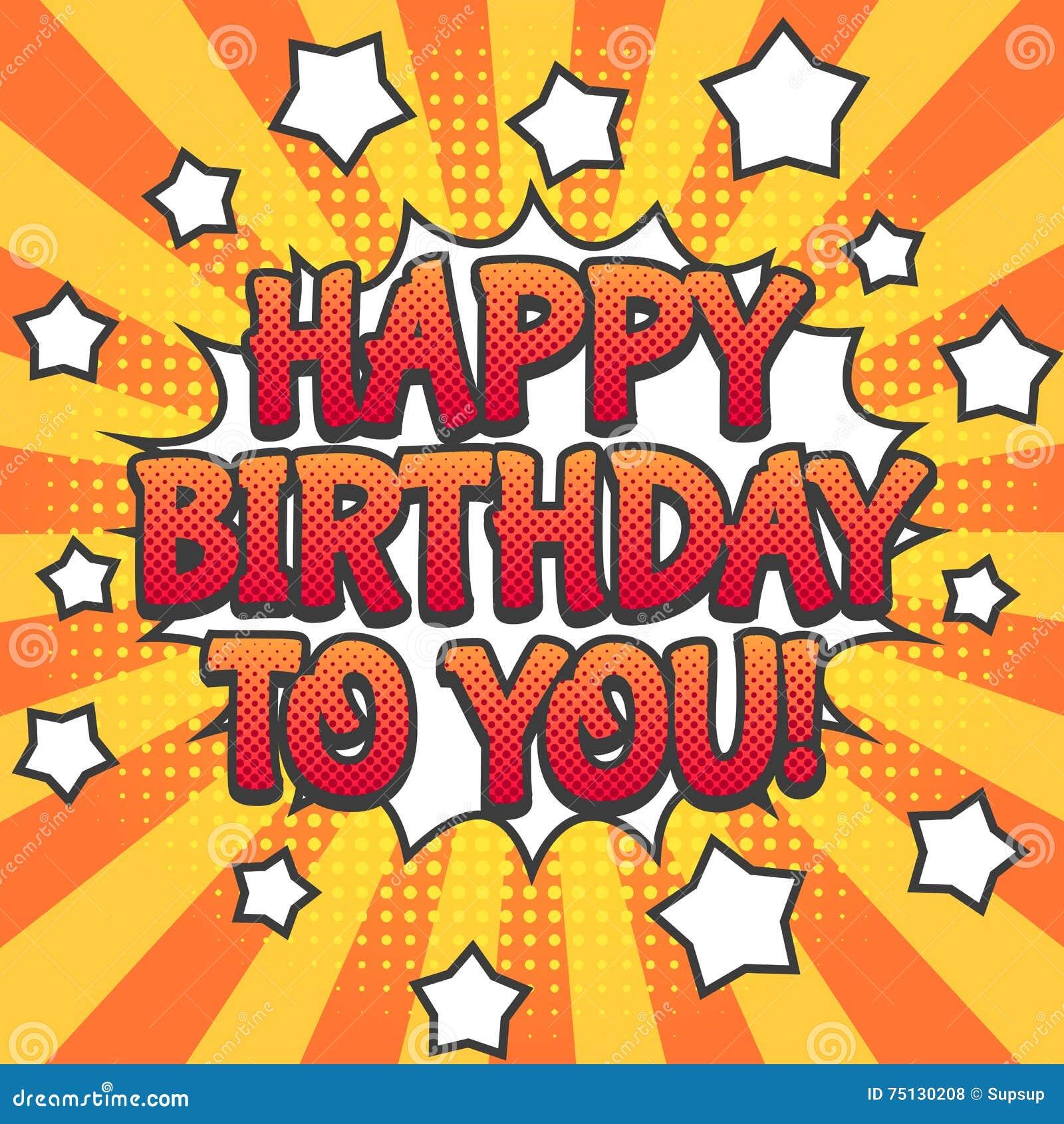 happy birthday pop Happy Birthday Pop Art Poster Stock Vector   Illustration of happy  happy birthday pop
