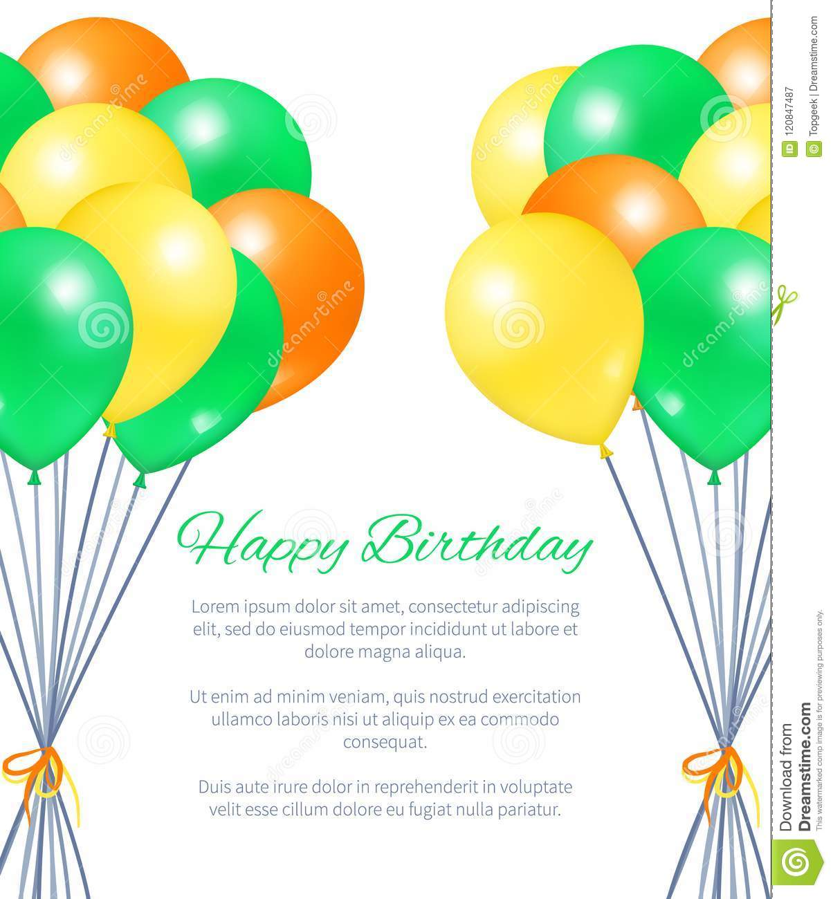 Happy Birthday Postcard Balloons Bundles For Party Stock Vector