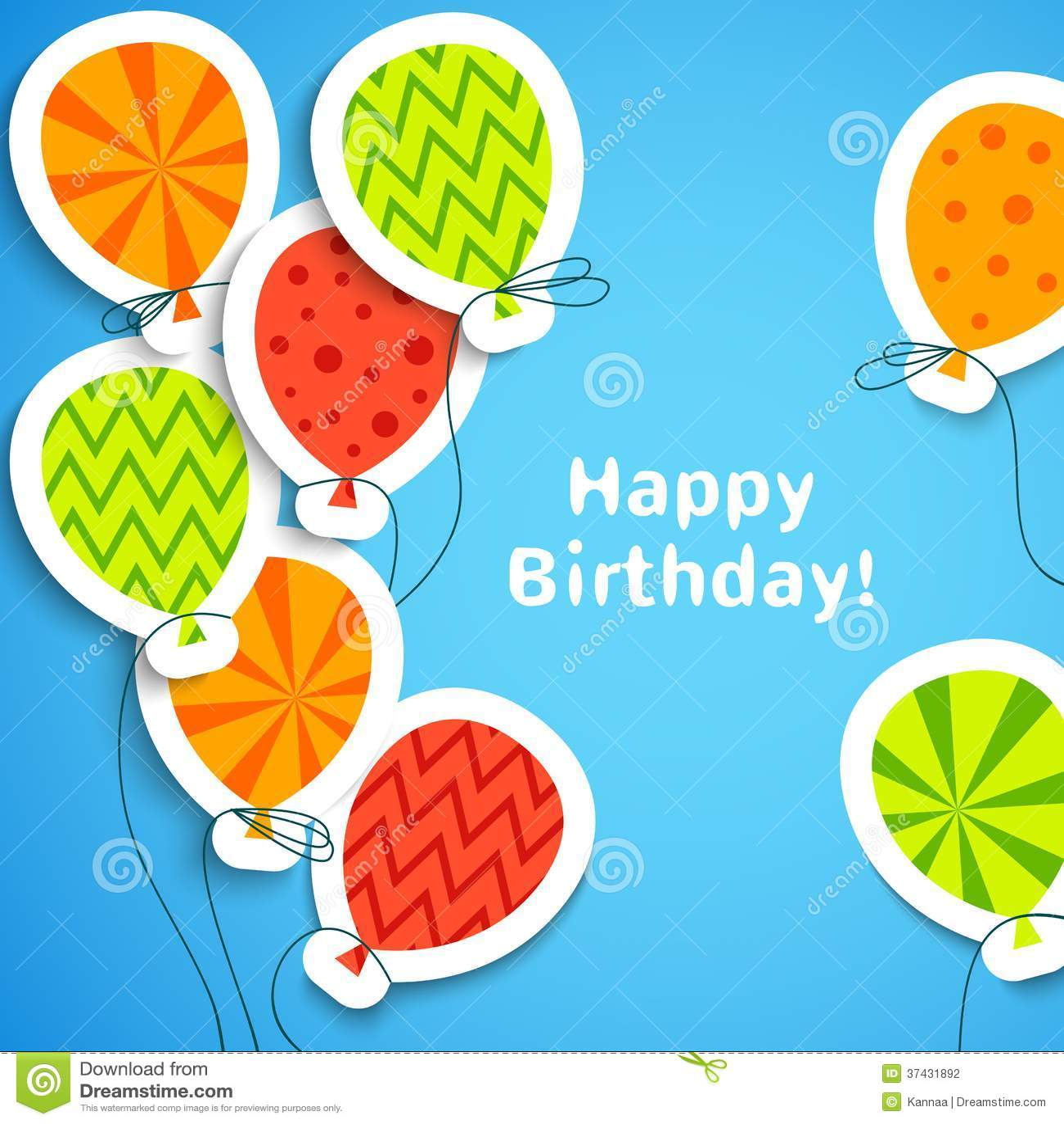Happy birthday postcard with balloons. Vector