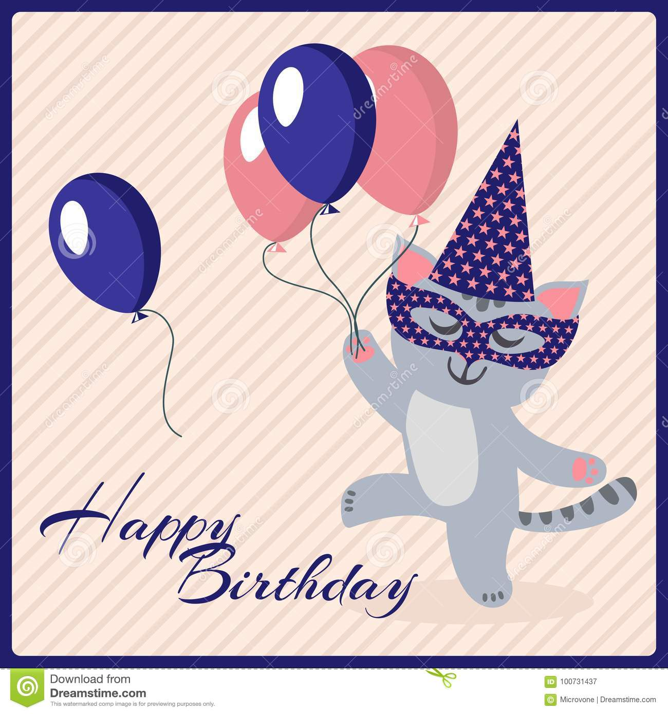 Happy Birthday Postcard Template With Cute Masquerade Cat
