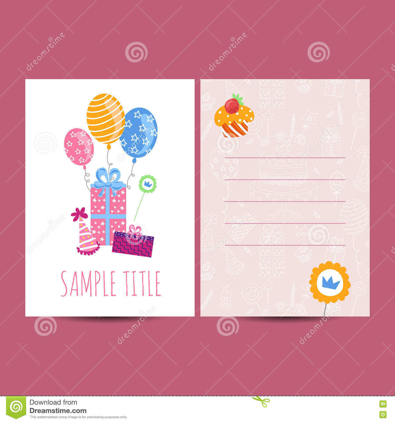 Happy birthday postcard vector illustration stock vector happy birthday postcard vector illustration party children bookmarktalkfo Image collections