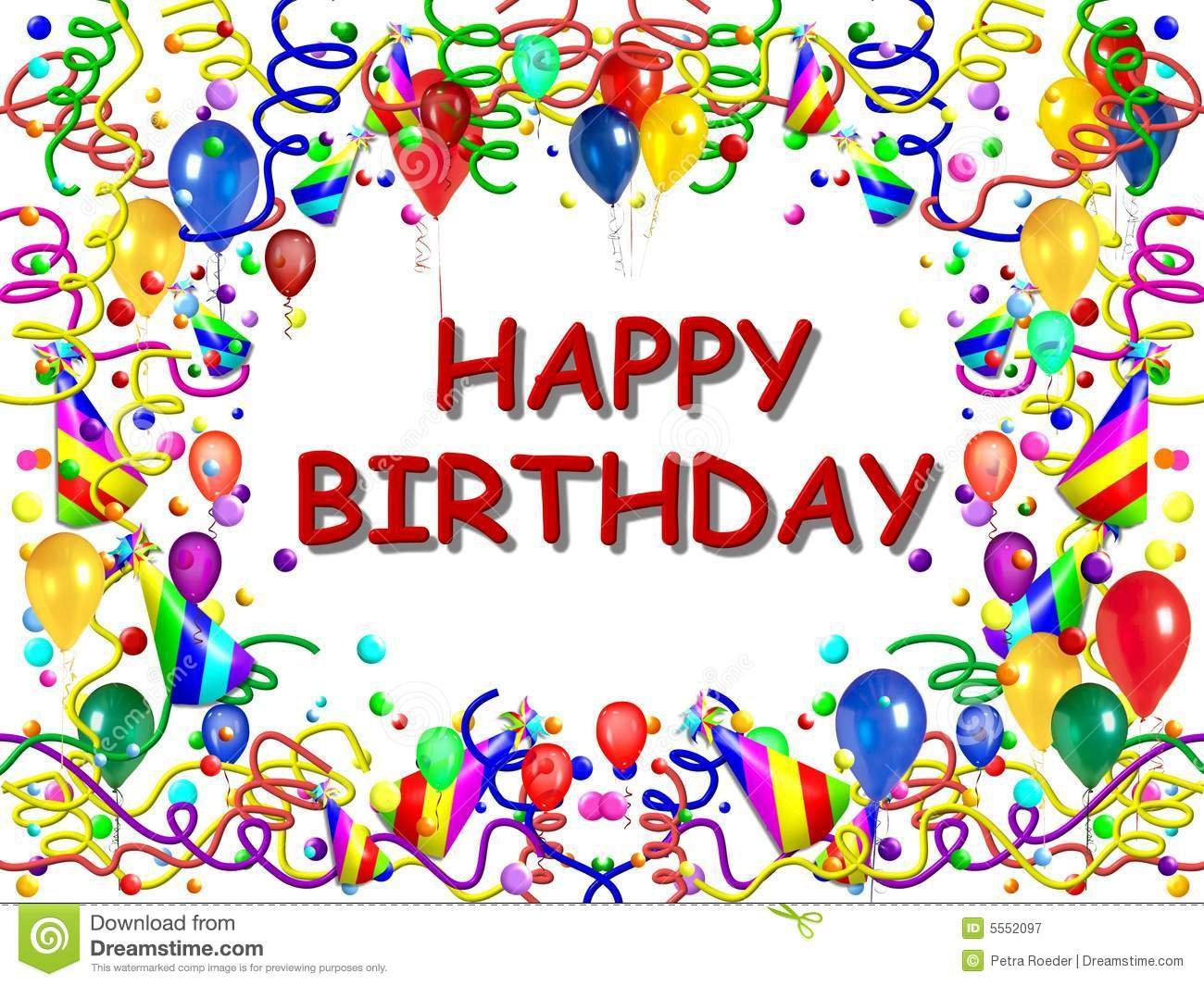 Colorful poster or background with the centered words happy birthday