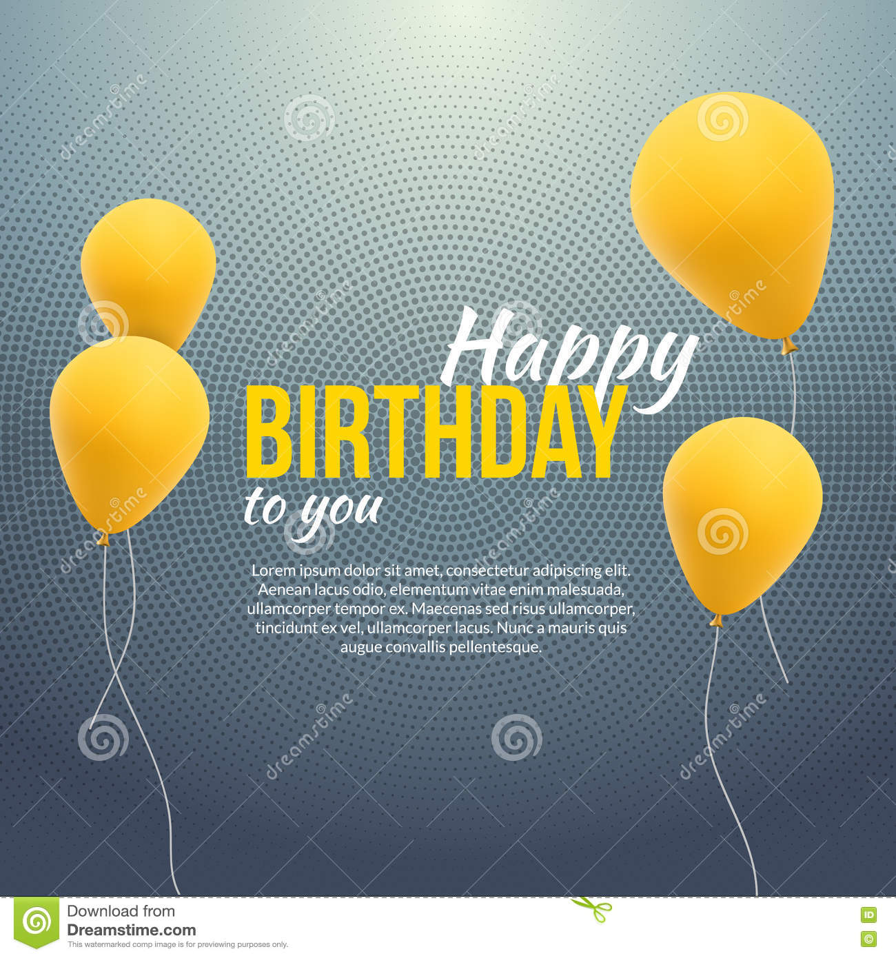 Happy Birthday Poster Background With Yellow Balloons And Text Invitation Template Banner