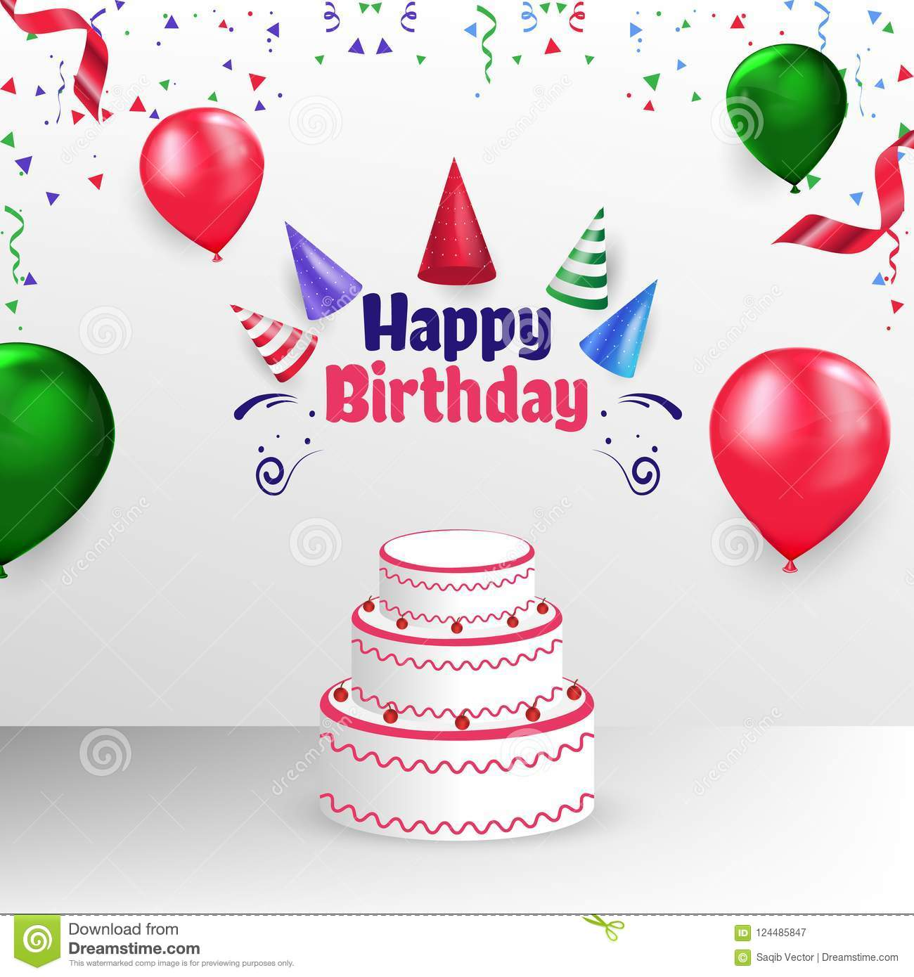 Happy Birthday Poster Banner Cover Vector Template Design
