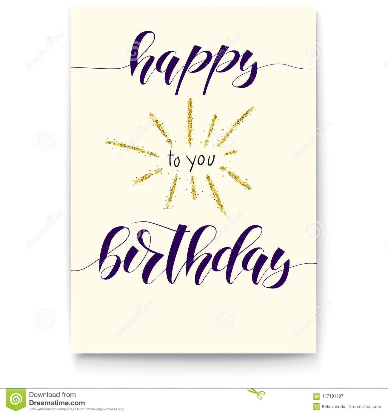 Happy Birthday Poster With Handwritten Text And Gold Shiny