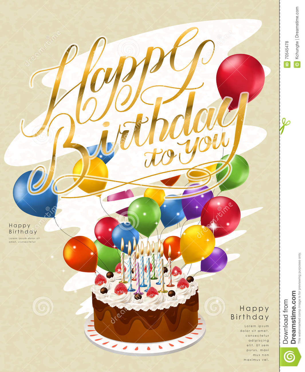 Happy Birthday Poster Template Design Stock Vector - Image: 70545478