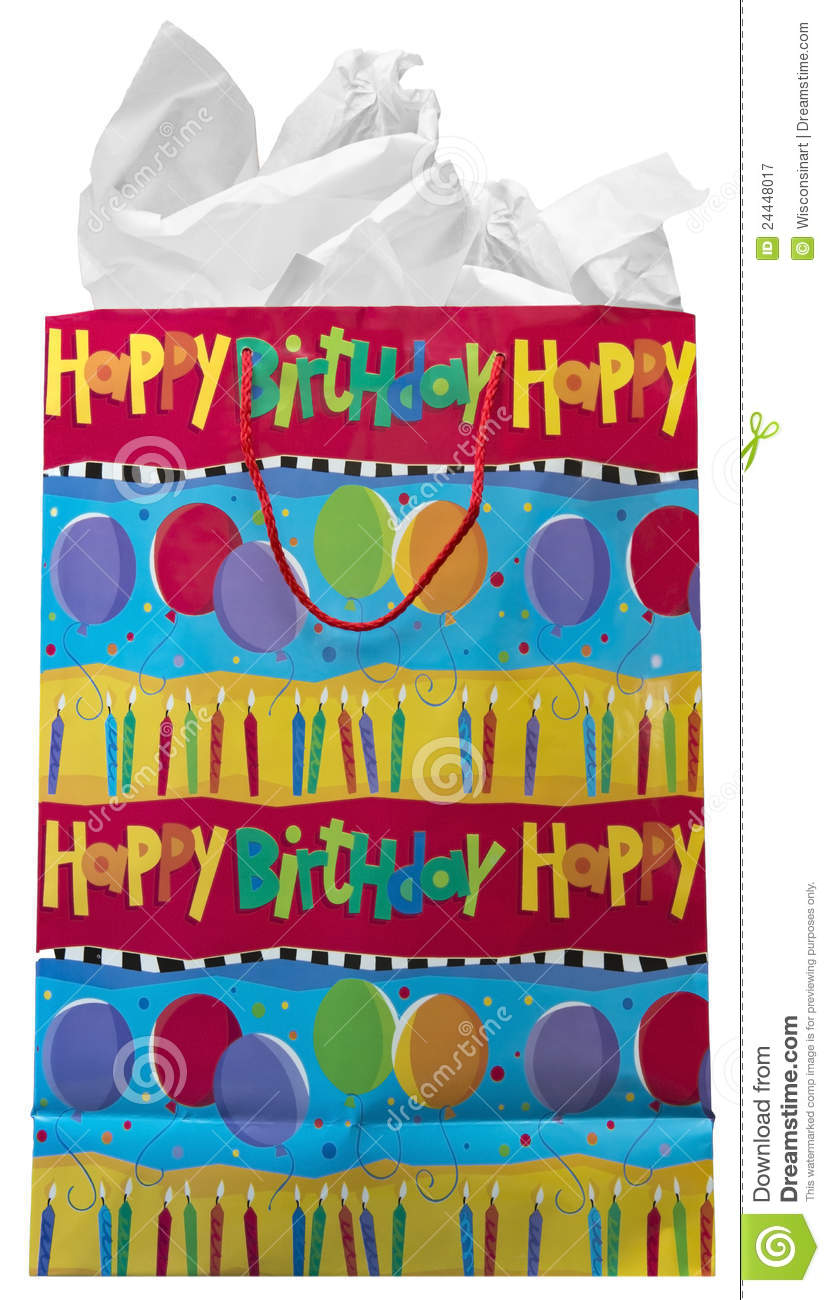 Happy birthday present gift bag isolated on white stock image happy birthday present gift bag isolated on white negle Gallery