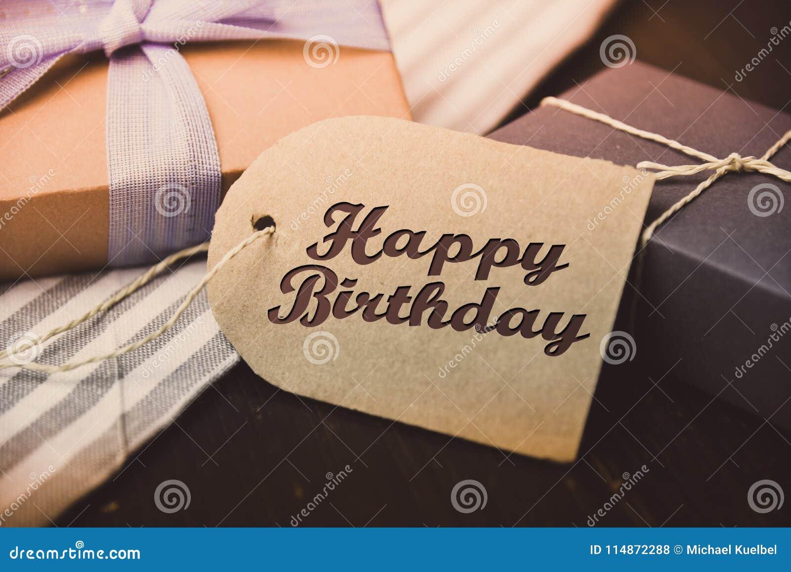 Happy Birthday present gift hipster vintage man & Happy Birthday Present Gift Hipster Vintage Man Stock Photo - Image ...