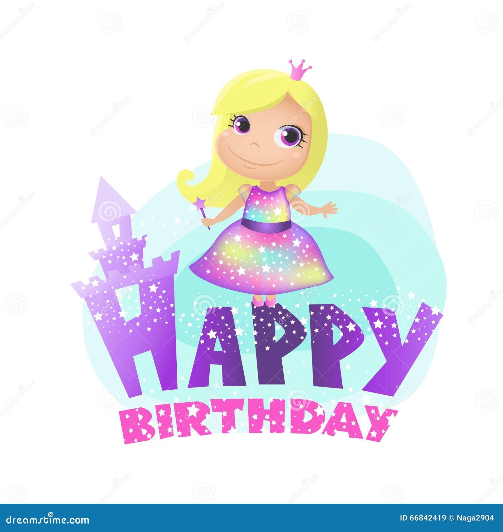 Happy Birthday, Princess Stock Vector. Illustration Of