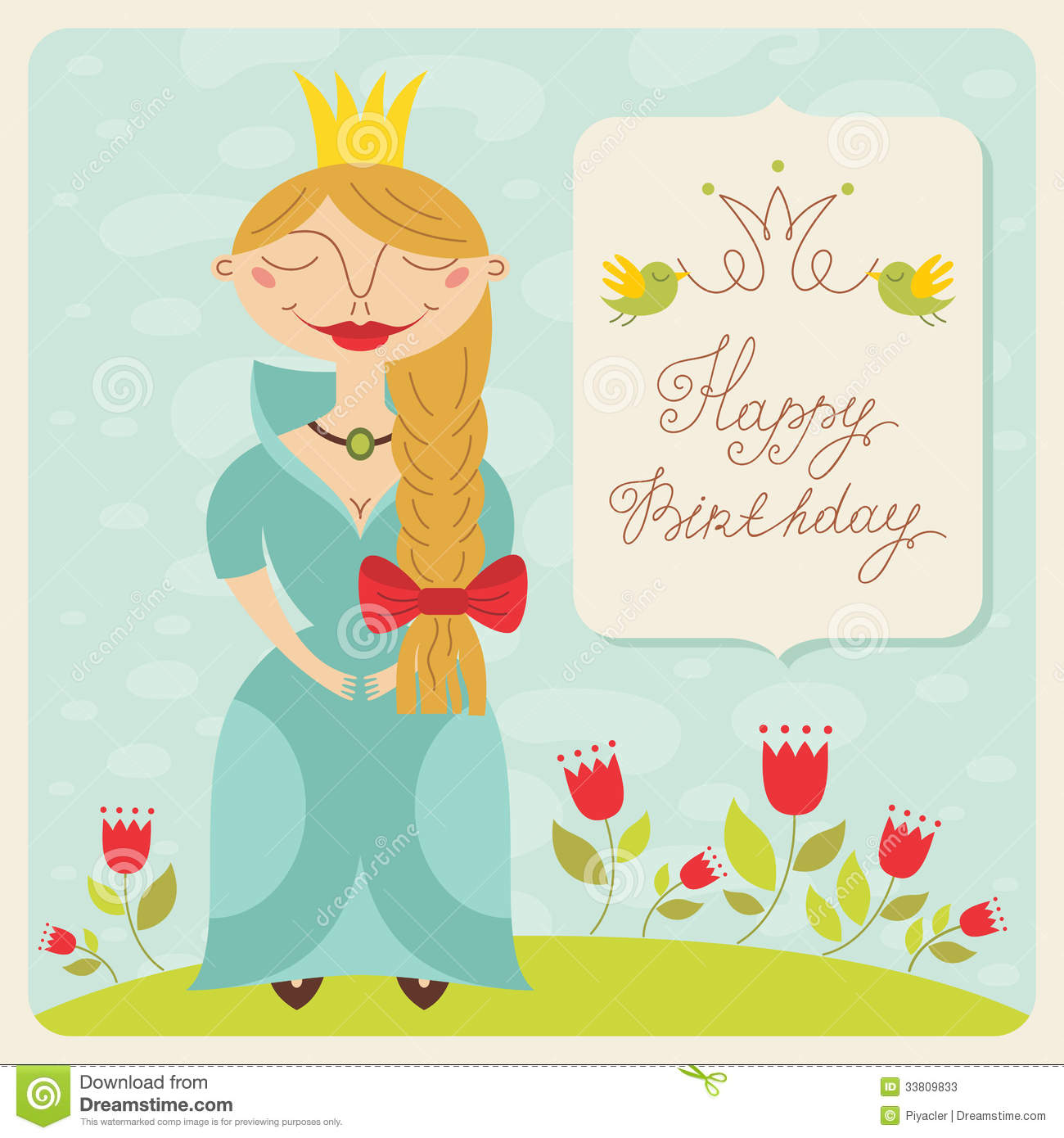 Happy Birthday Princess Card Stock Photos - Image: 33809833