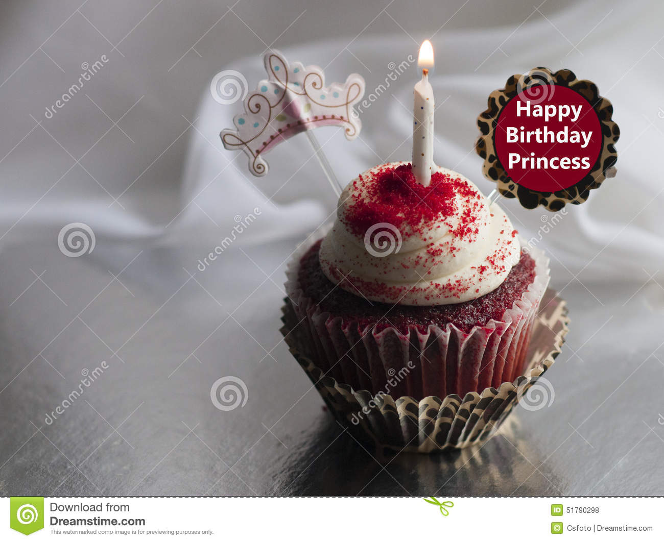 Happy Birthday Princess Cake With Candles ~ Happy birthday princess celebration cupcake stock photo