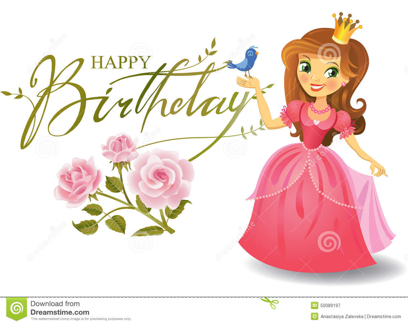 happy birthday, princess, greeting card stock vector  image, Birthday card