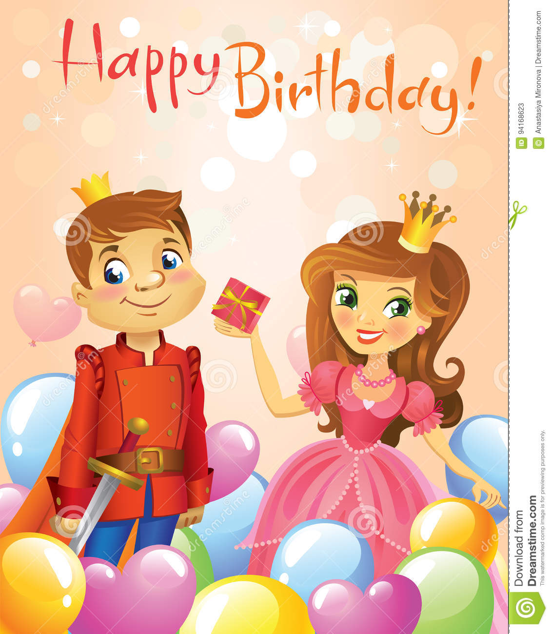 Happy Birthday Princess And Prince Greeting Card Stock Vector