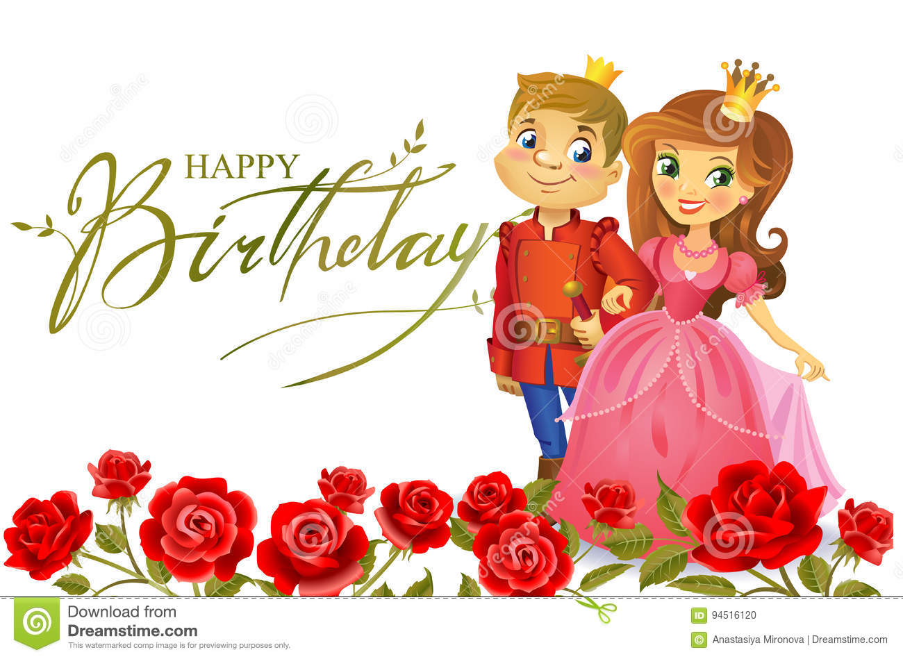 Happy Birthday, Princess And Prince, Greeting Card. Stock Vector ...