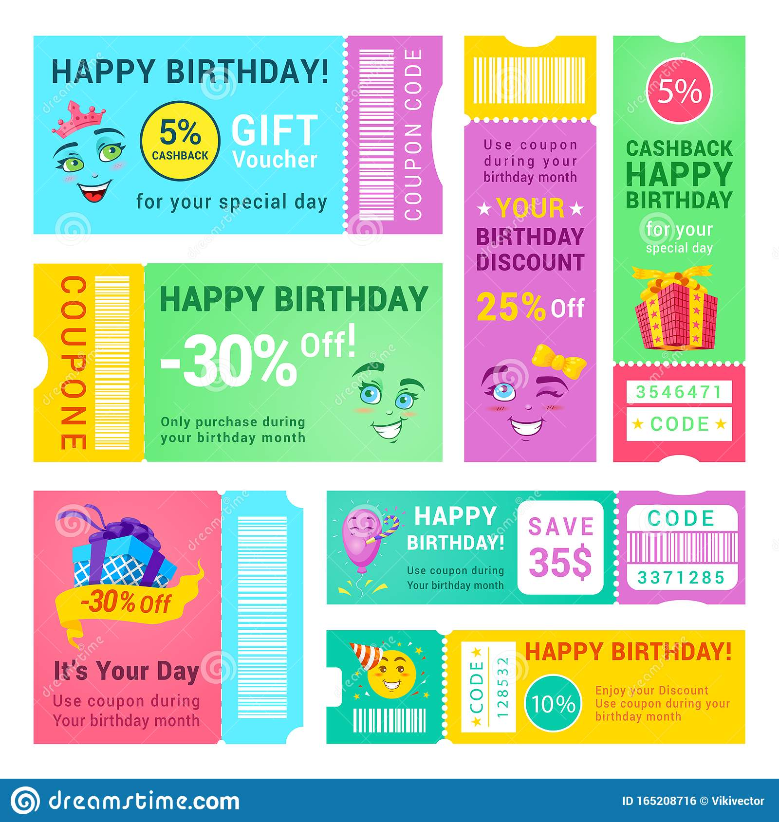 Happy Birthday Promo Vouchers Vector Design Templates Set Stock Vector Illustration Of Cartoon Collection 165208716