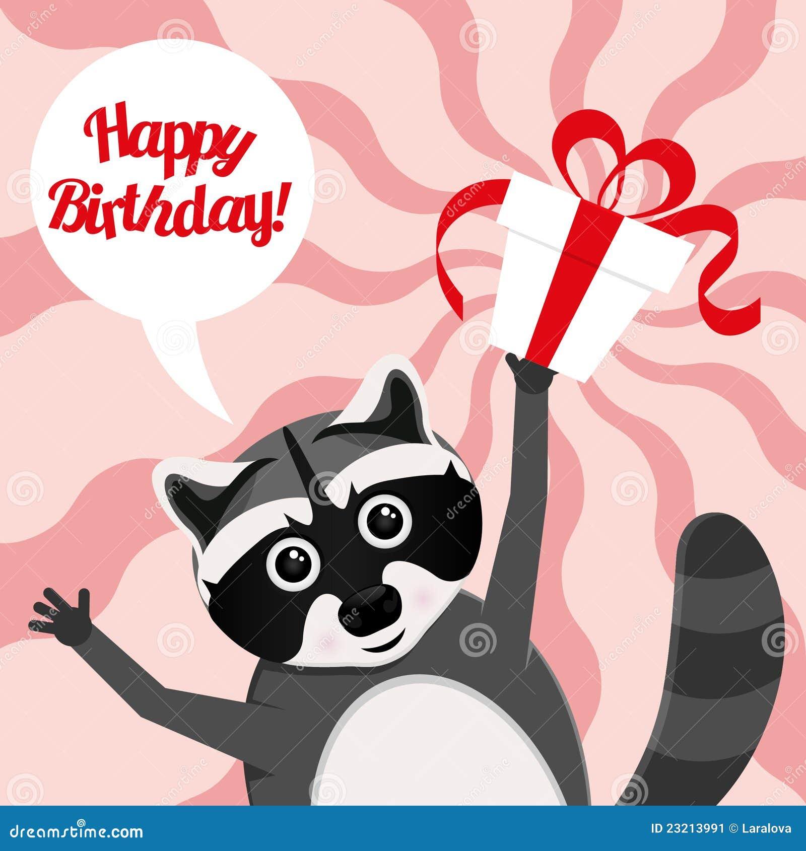 Поздравление с днем рождения с енотами