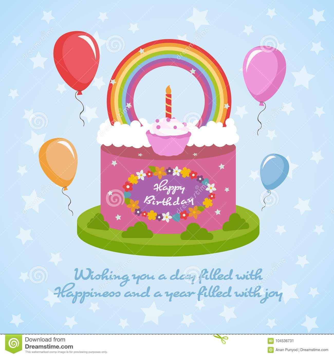 Happy Birthday Rainbow Clude Topping Cake And Flowers Balloon On