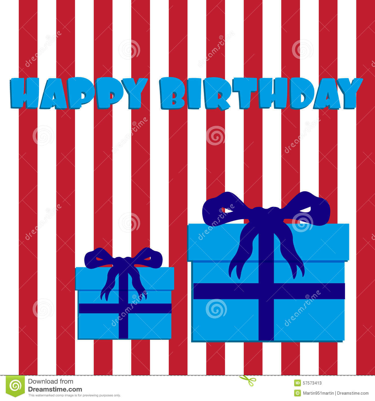 Happy Birthday With Red And White Stripes And Blue Gifts ...