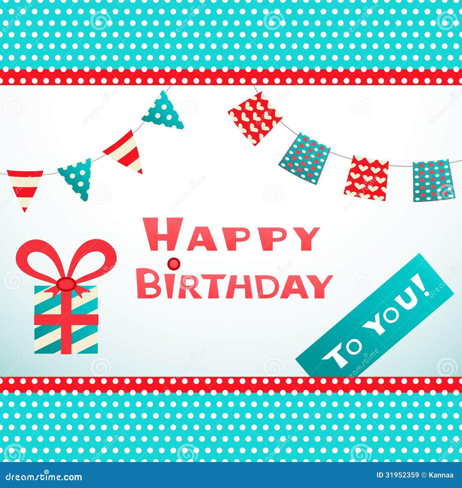 Happy Birthday Retro Postcard With Dot Textured Royalty Free Stock ...