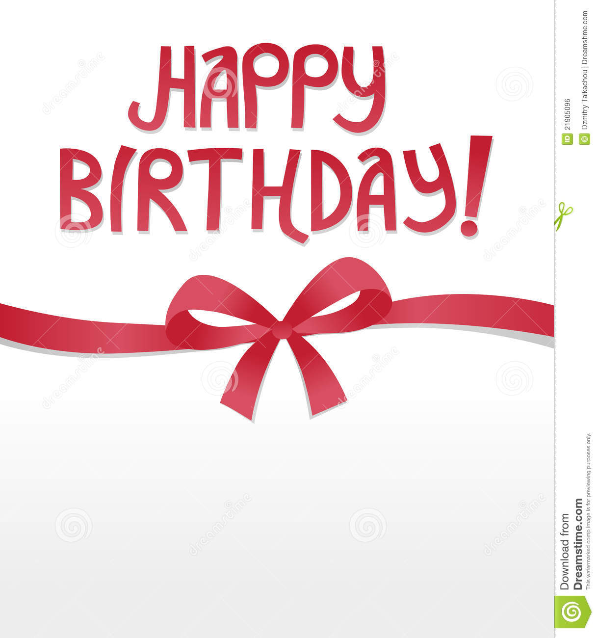 Happy Birthday Ribbon Bow Royalty Free Stock Image - Image: 21905096