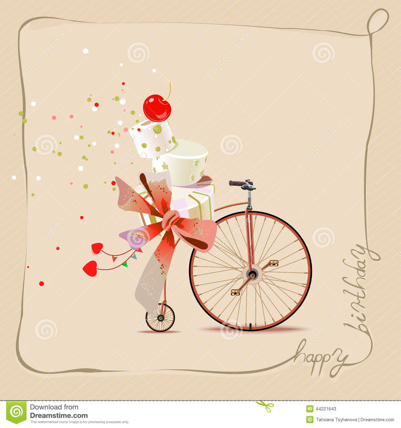 Happy Birthday Romantic Greeting Card Bicycle And Cake Vintage Style