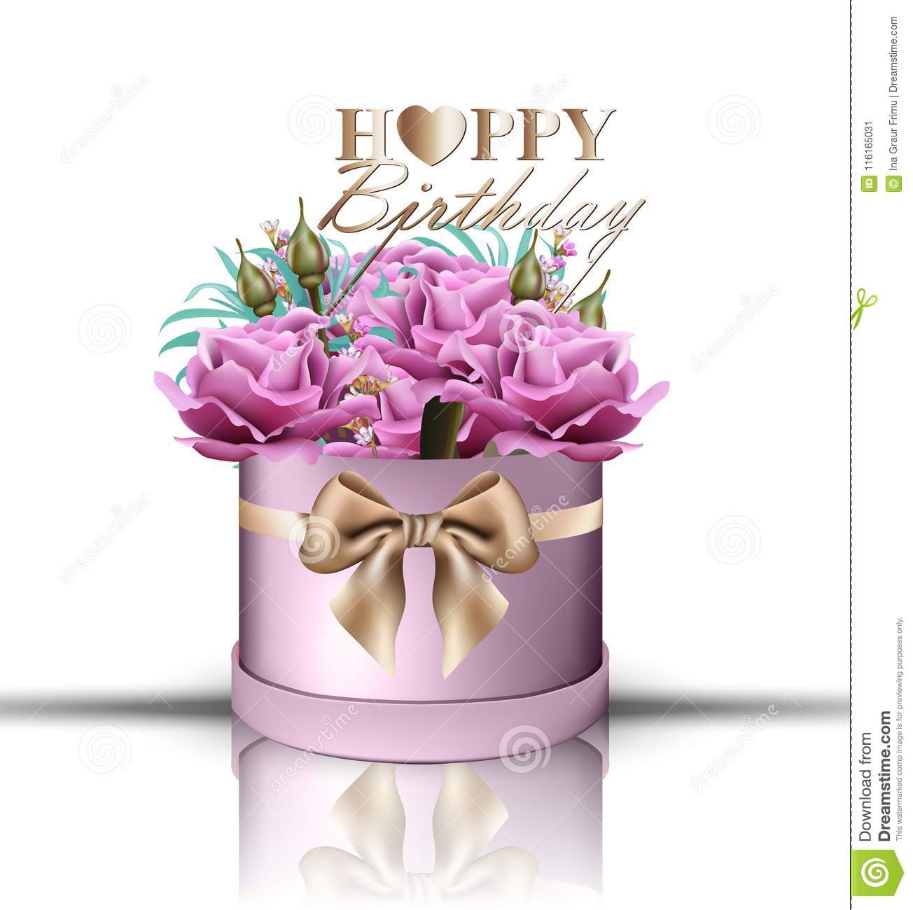 Happy Birthday Roses Bouquet Vector Vintage Floral Gift Box Violet Color