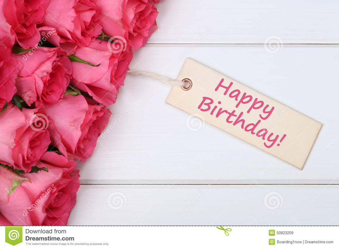Happy Birthday With Roses Flowers With Greeting Card On A Wooden