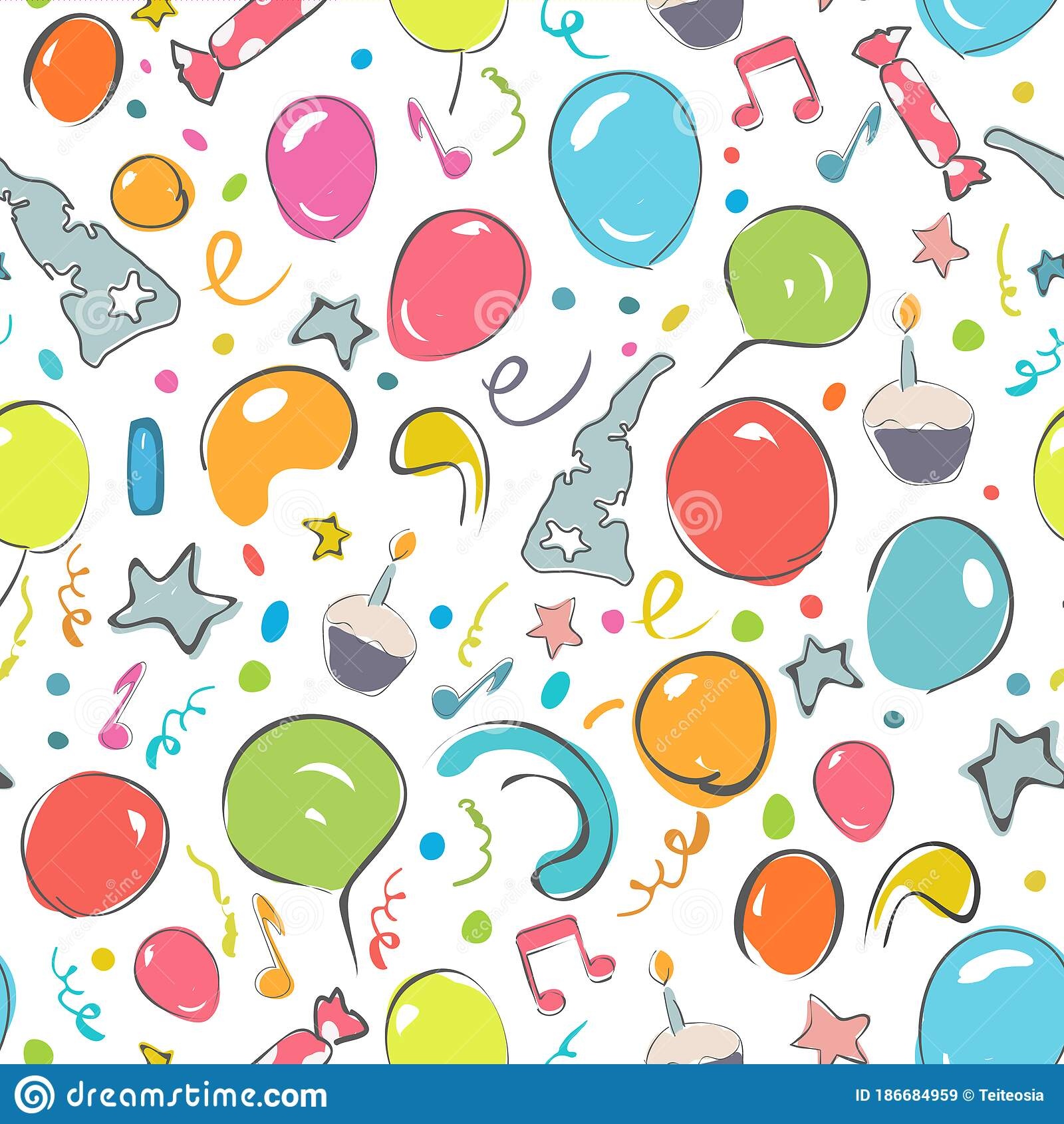 Happy Birthday Seamless Patern Stock Illustration Illustration Of Foliday Greeting 186684959