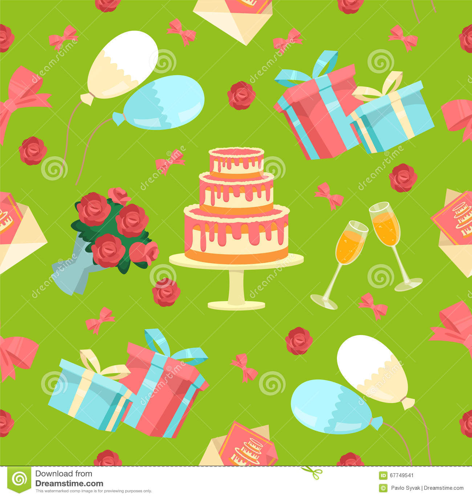 Happy birthday seamless pattern with cake stock vector happy birthday seamless pattern with cake izmirmasajfo