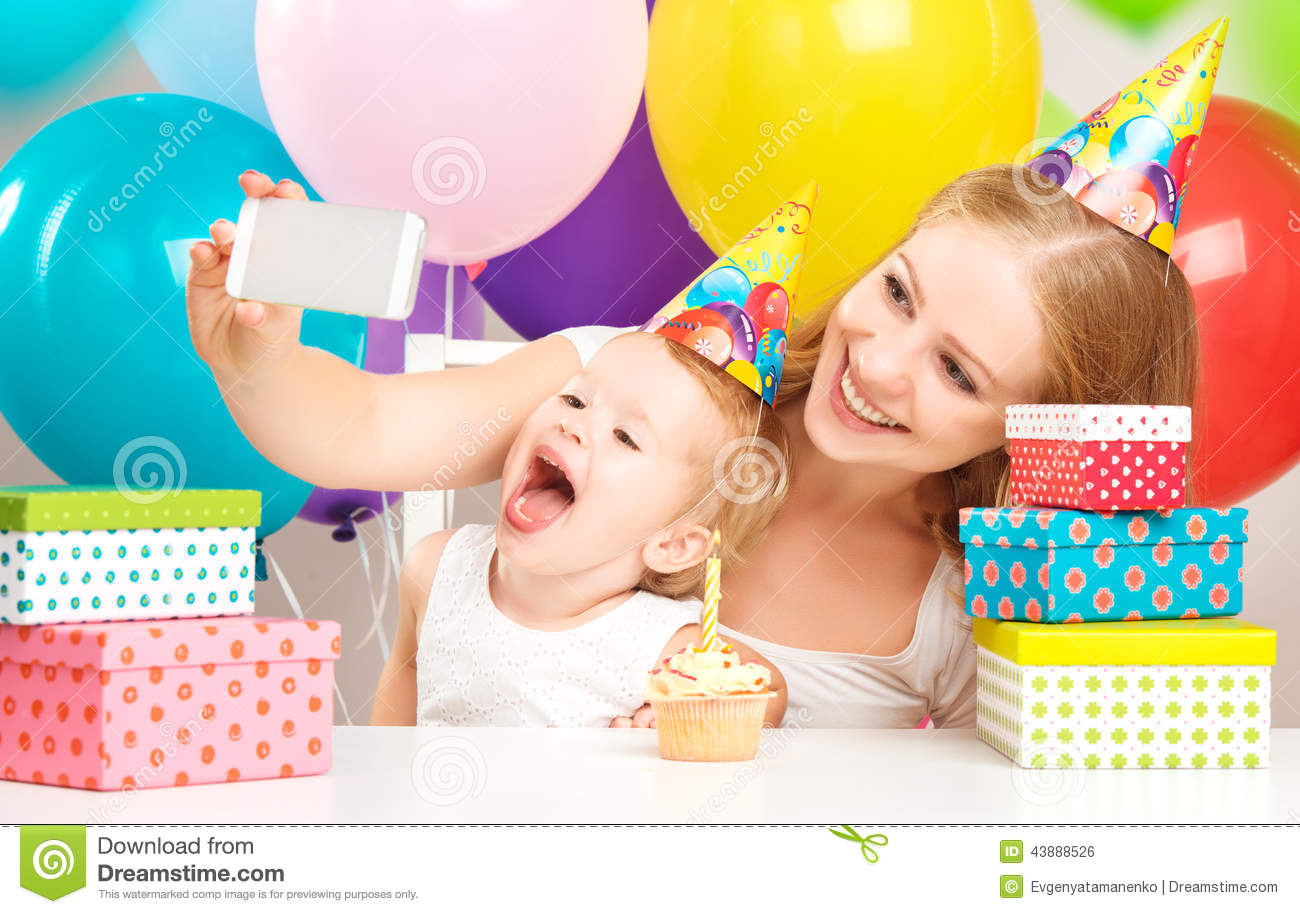 Happy Childrens Birthday Selfie Mother Photographed Her Daughter The Child With Balloons Cake Gifts