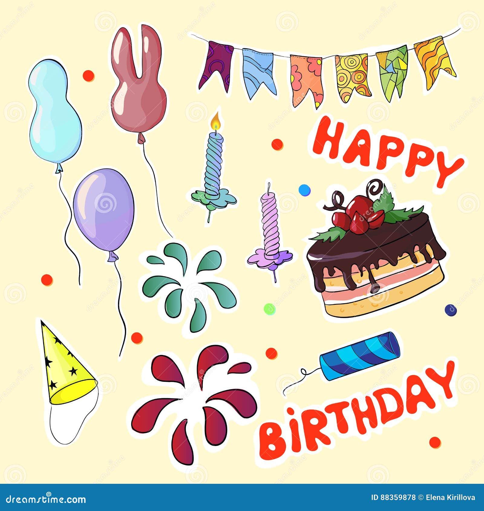 Happy birthday set In cartoon style. Vector illustration.