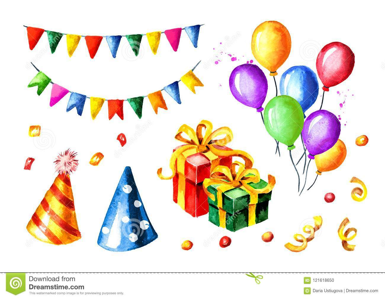Happy Birthday Set Colorful Garlands Gift Boxes Balloons