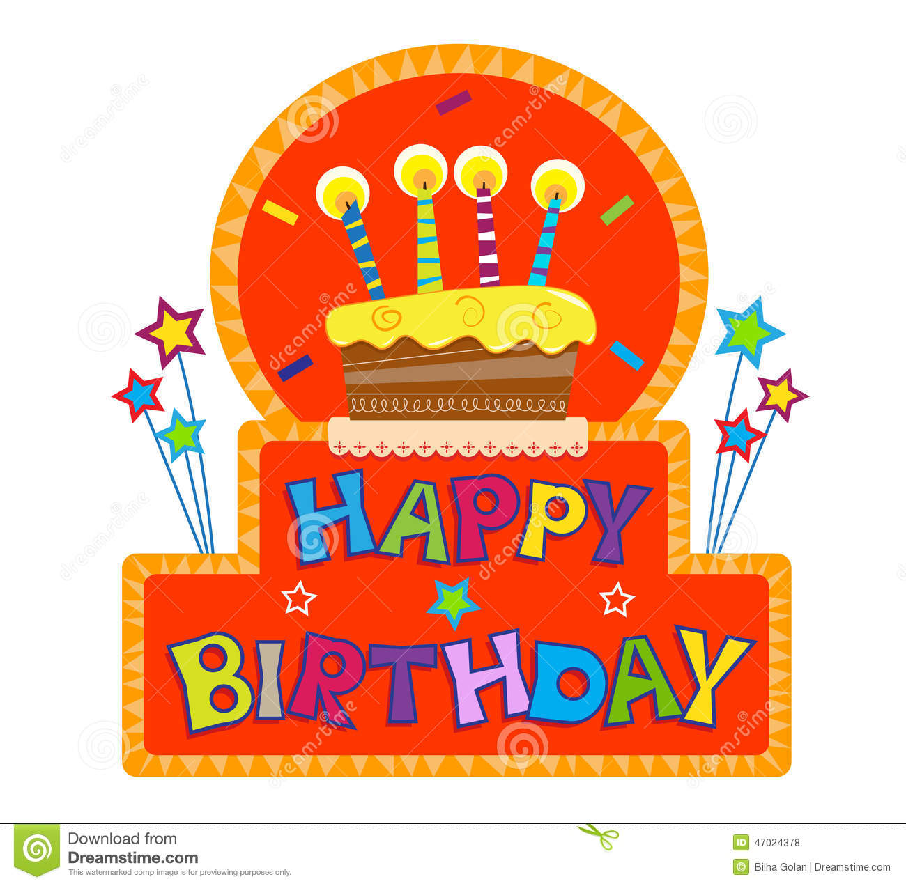 Happy Birthday Sign Stock Vector Illustration Of Orange