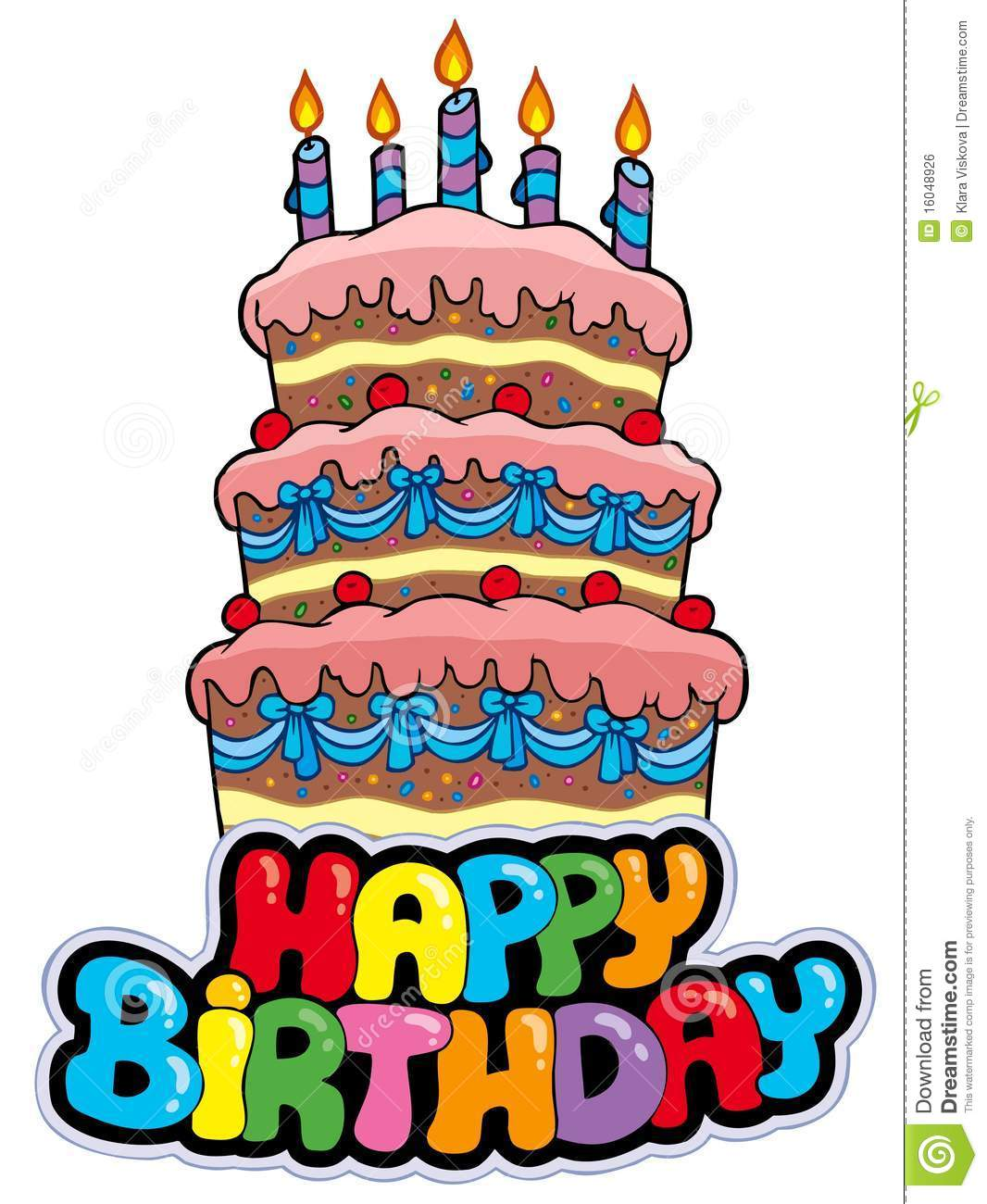 Happy Birthday Sign With Tall Cake Stock Vector Illustration Of