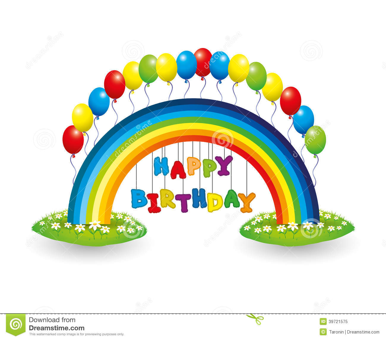 Royalty Free Stock Photo Happy Birthday Sign Vector Rainbow Balloons ...