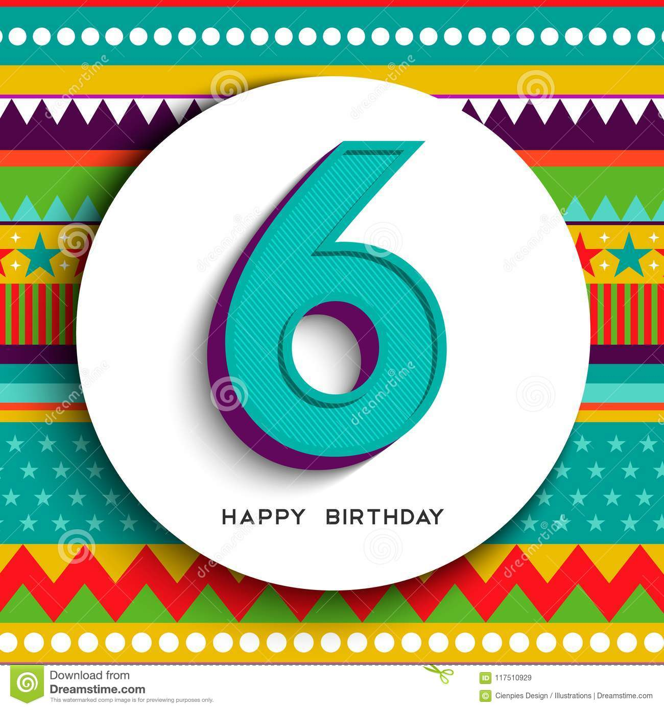 Happy Birthday Six 6 Year Fun Design With Number Text Label And Colorful Background Ideal For Party Invitation Or Greeting Card EPS10 Vector