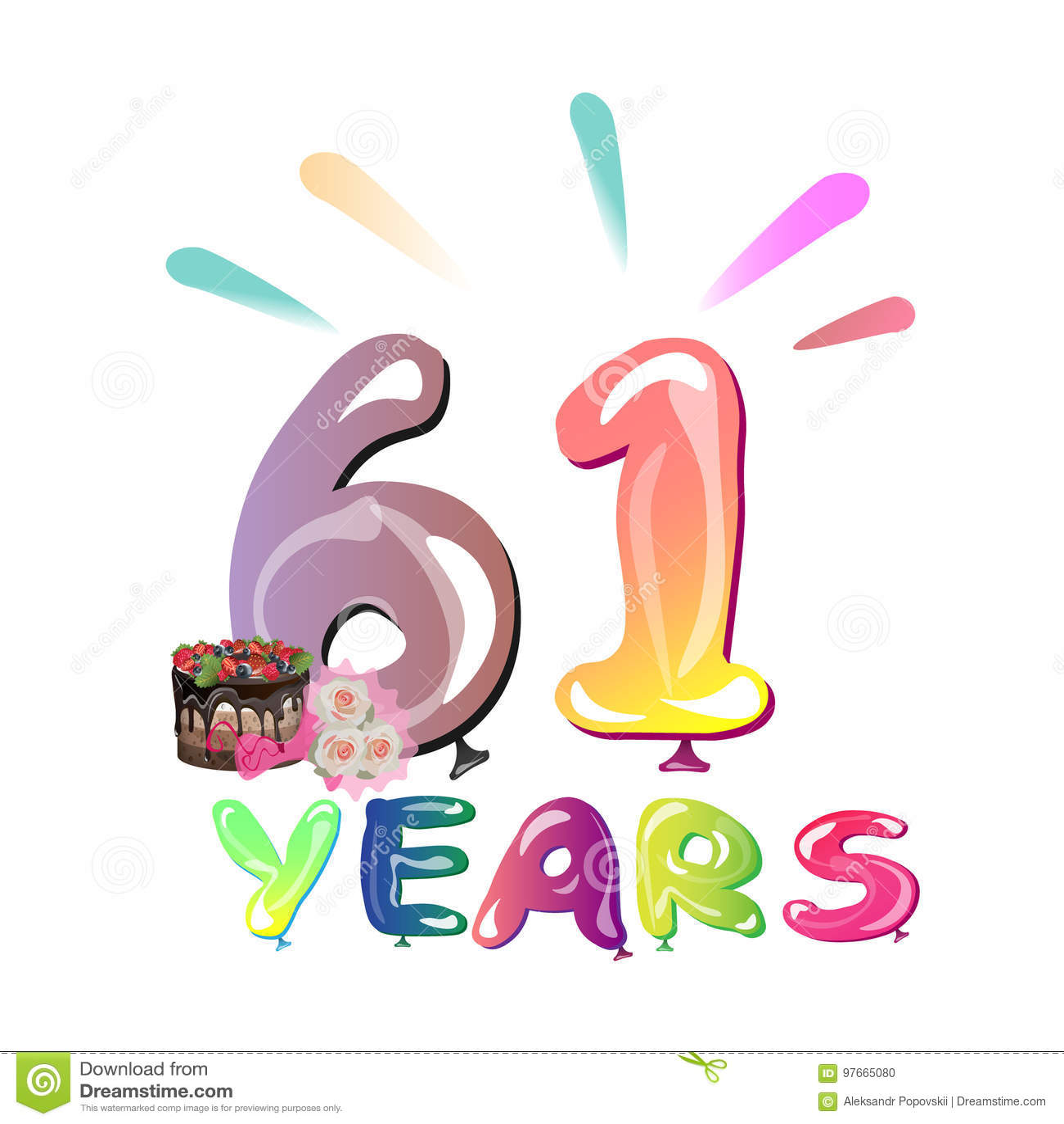 Happy Birthday Sixty One 61 Year Stock Vector Illustration Of