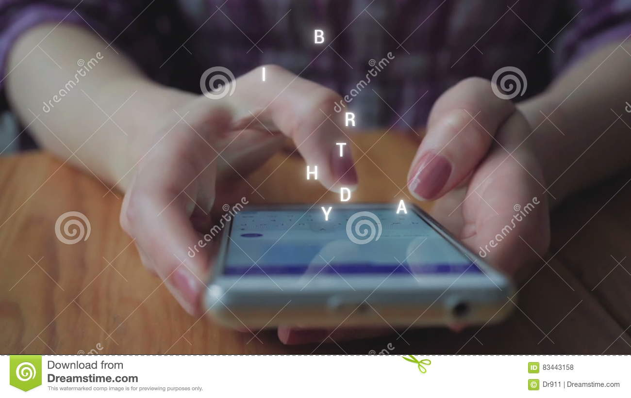 Happy birthday sms typing stock footage image of connection 83443158 kristyandbryce Choice Image