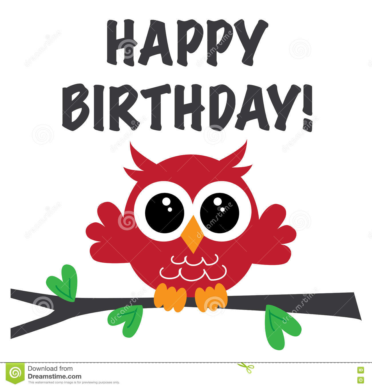 Happy Birthday Sweet Owl Stock Illustration  Image 81770636