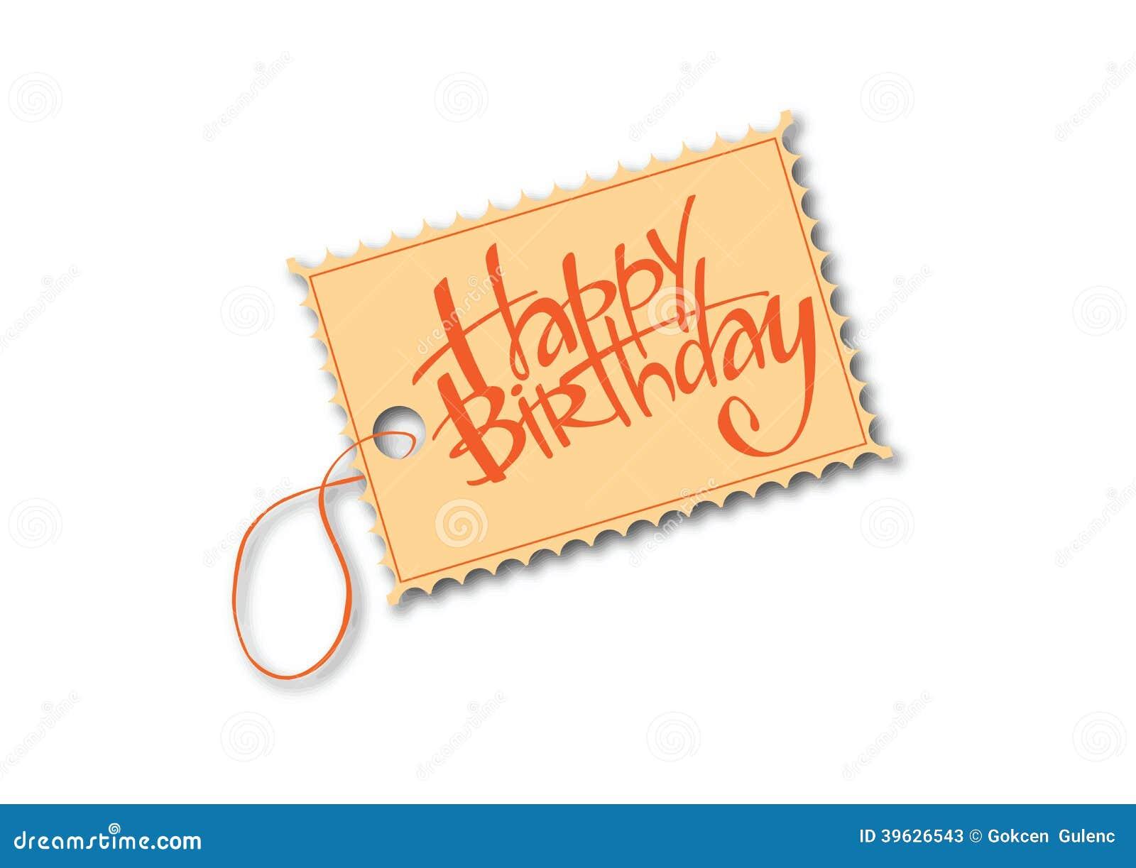 Happy Birthday Tag Stock Vector - Image: 39626543
