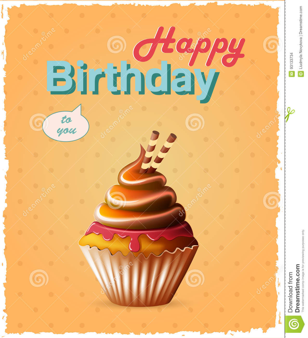 happy birthday template card with cake and text stock vector