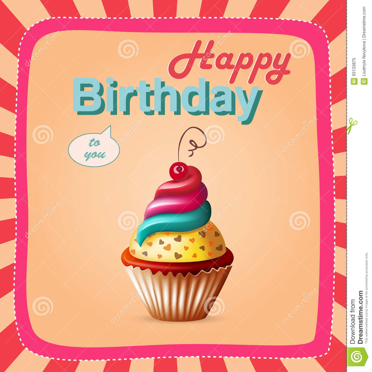 Happy Birthday Template Card With Cake And Text Stock