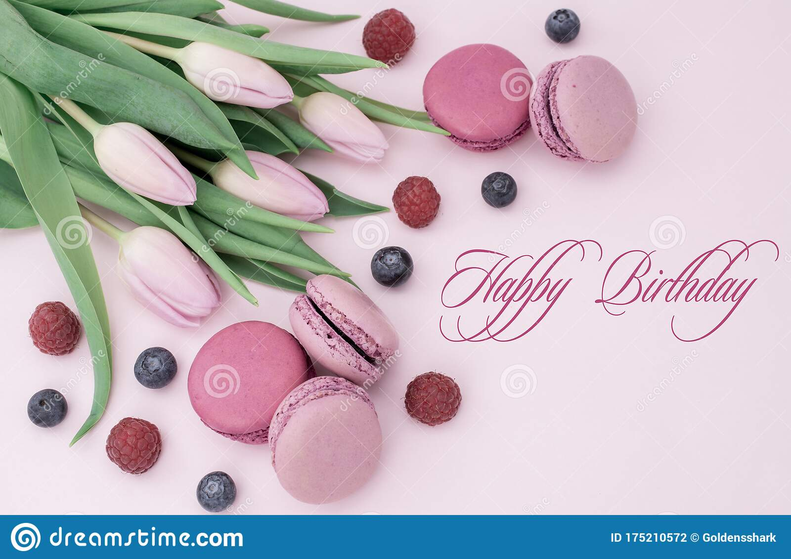 Astounding Happy Birthday Text Beautiful Tulips With Colourful Biscuits Personalised Birthday Cards Veneteletsinfo