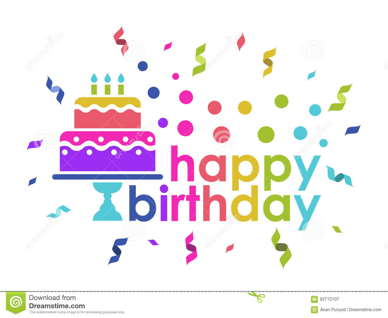 Happy Birthday Text And Cake And Ribbon Rainbow Color Style Vector