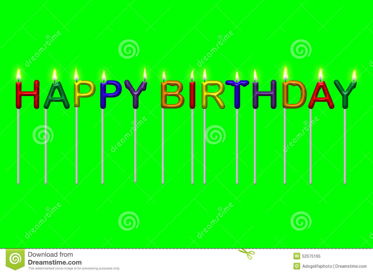 Happy Birthday Text Candles Isolated Stock Illustration