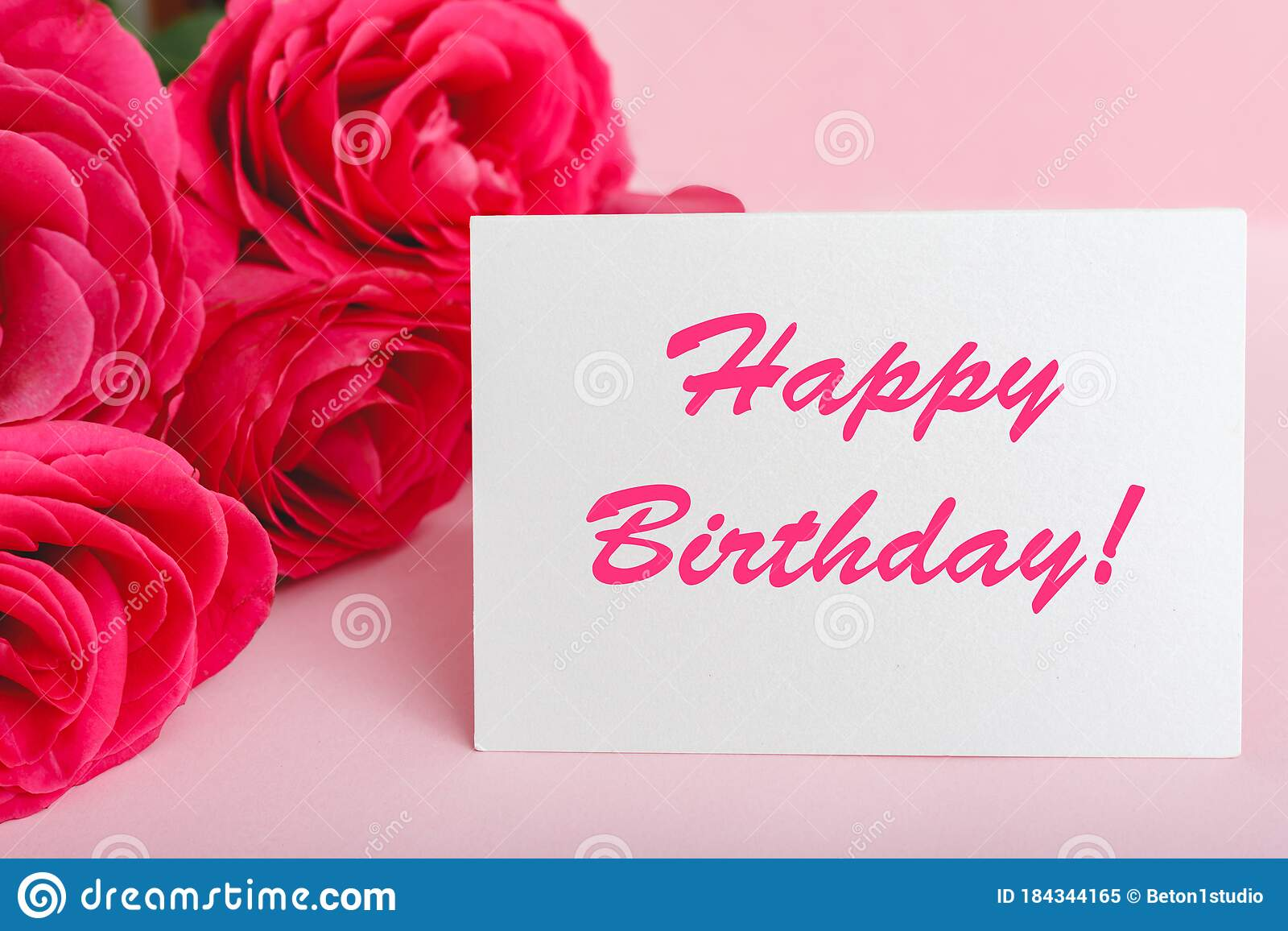 Happy Birthday Text On Card In Flower Bouquet On Pink Background Flower Delivery Congratulation Card Greeting Card In Pink Red Stock Image Image Of Colourful Copyspace 184344165